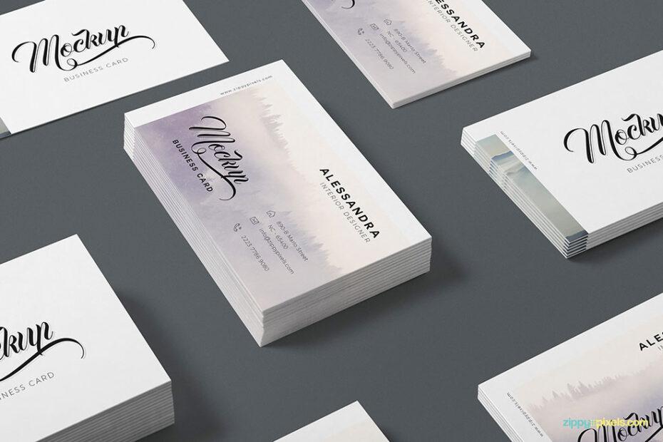 Free Isometric Business Card Mockup