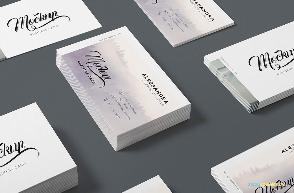 Isometric-Business-Card-Mockup