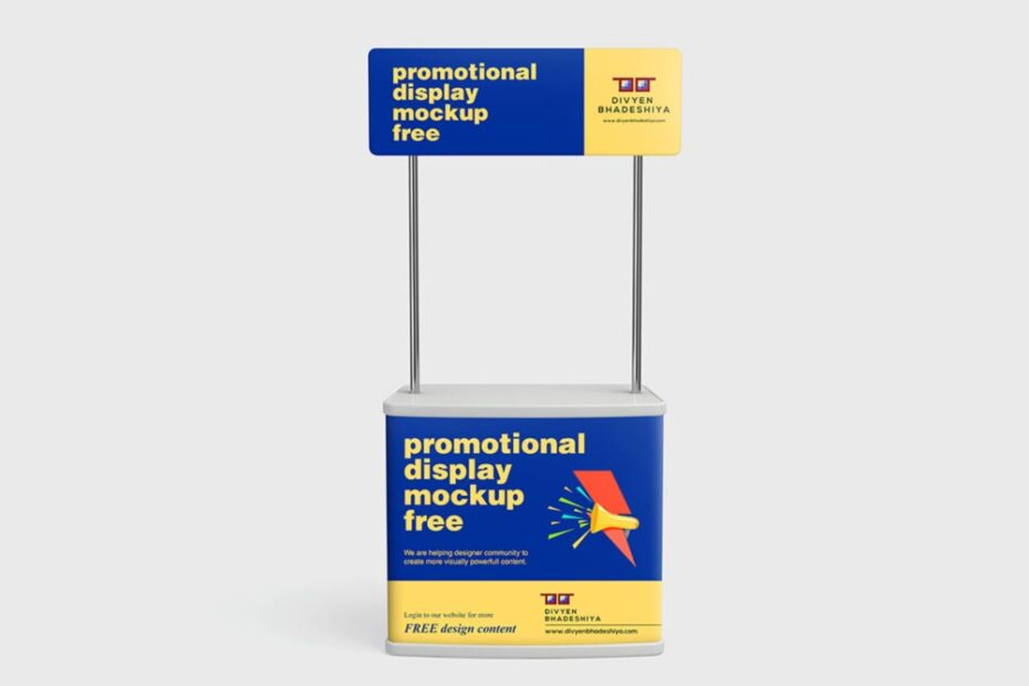 Free Promotional Display Counter Mockup PSD