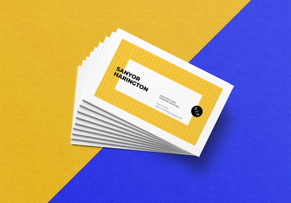 Free Realistic Stacked Business Card Mockup