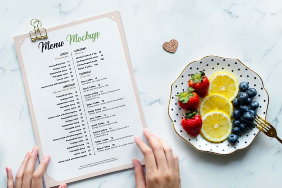 Free Restaurant Menu Mockup PSD