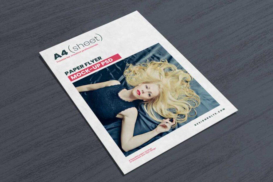Free Sleek A4 Flyer Mockup PSD