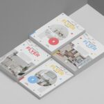 Free Stacked A4 Flyer Mockup PSD
