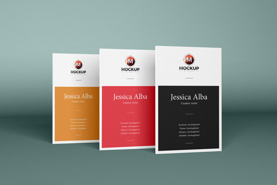 Free Vertical Business Card PSD Mockup