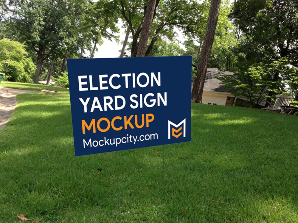Free Election Yard Sign Mockup PSD
