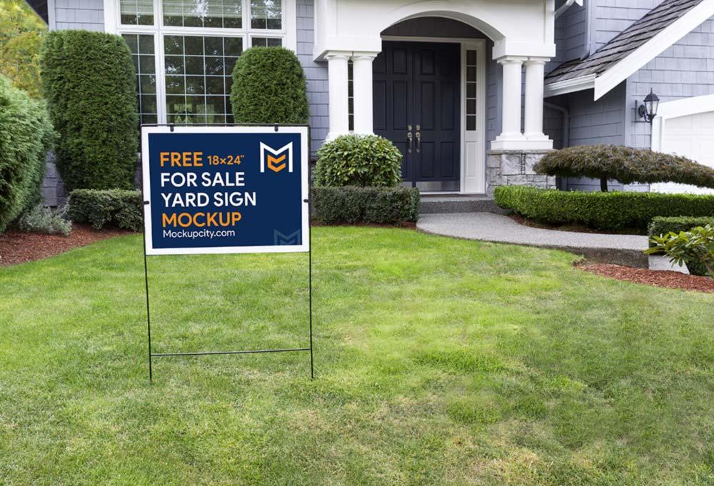 For Sale Yard Sign Mockup PSD