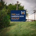 Free Garden Sign Mockup PSD