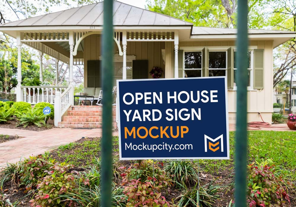 Free Open House Yard Sign Mockup