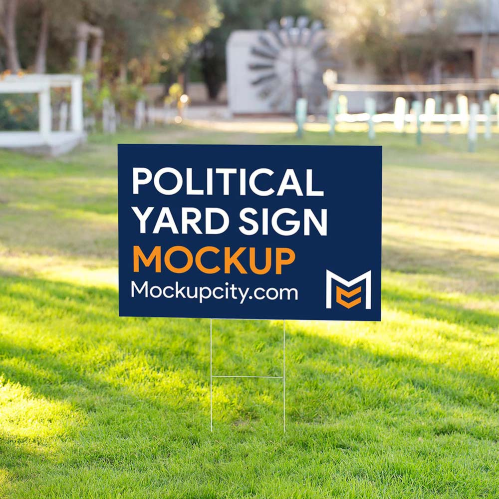Free Political Yard Sign PSD Mockup