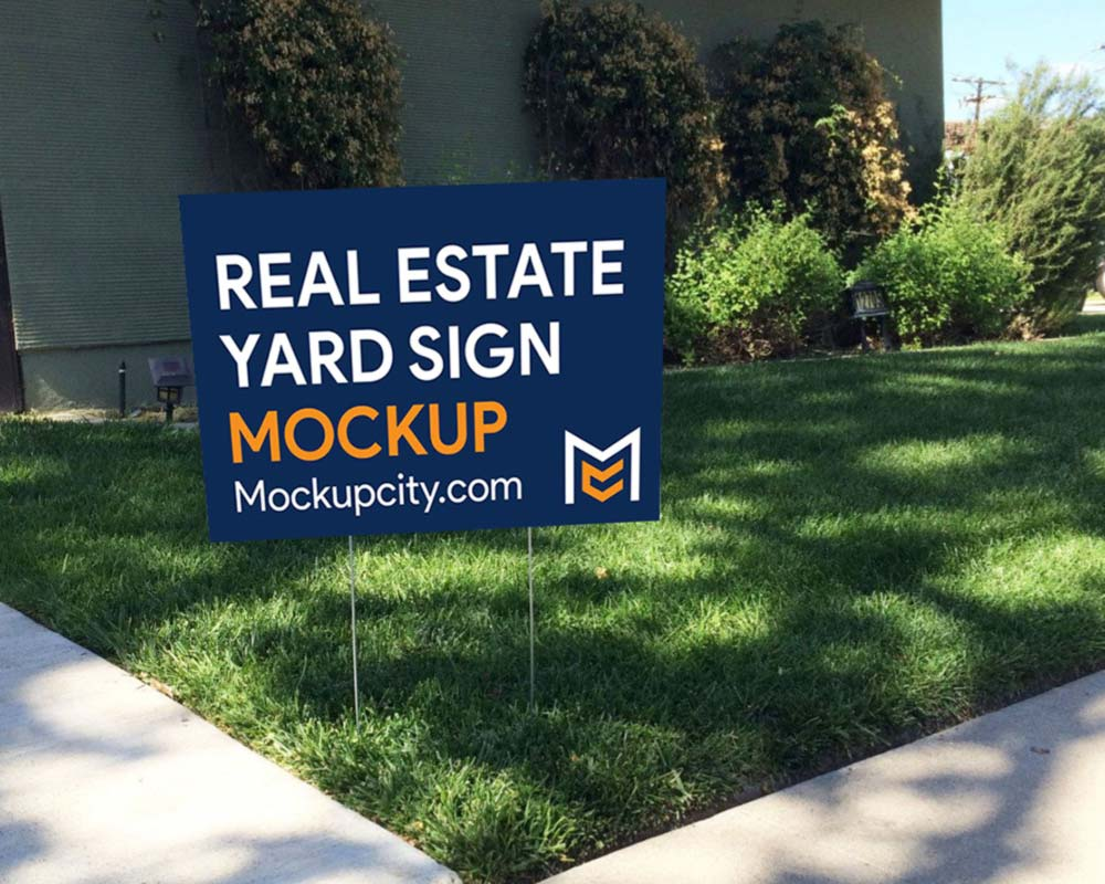 Free Real Estate Yard Sign Mockup PSD