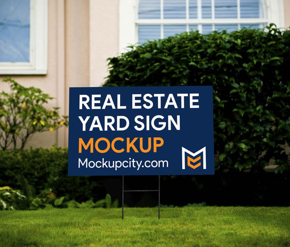 Free Real Estate Yard Sign PSD Mockup