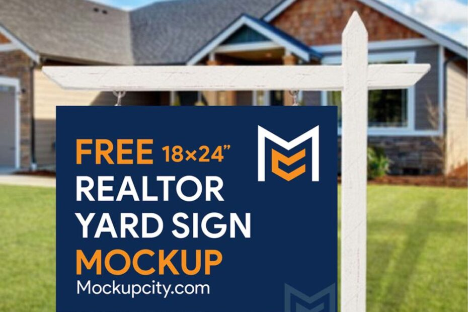 Free Realtor Yard Sign Mockup PSD