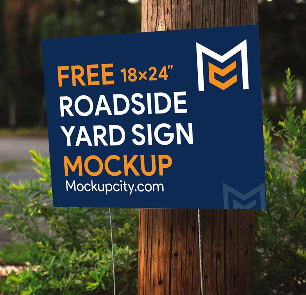 Free Roadside Yard Sign Mockup PSD
