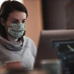 Free Working in Face Mask Mockup
