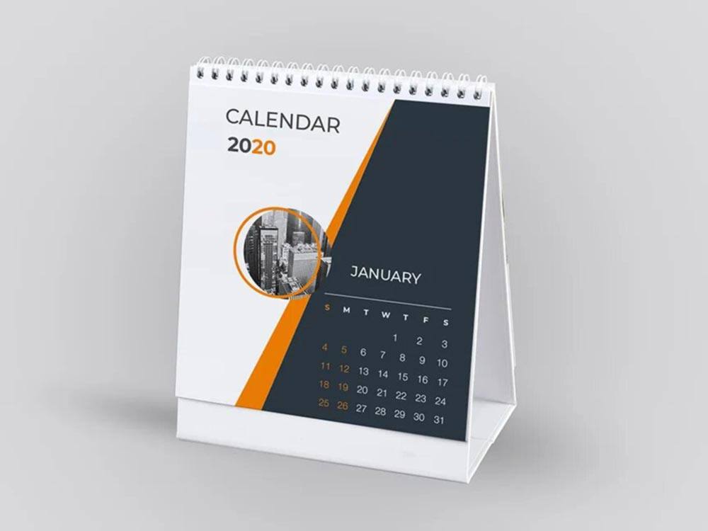 Free Business Desk Calendar Mockup