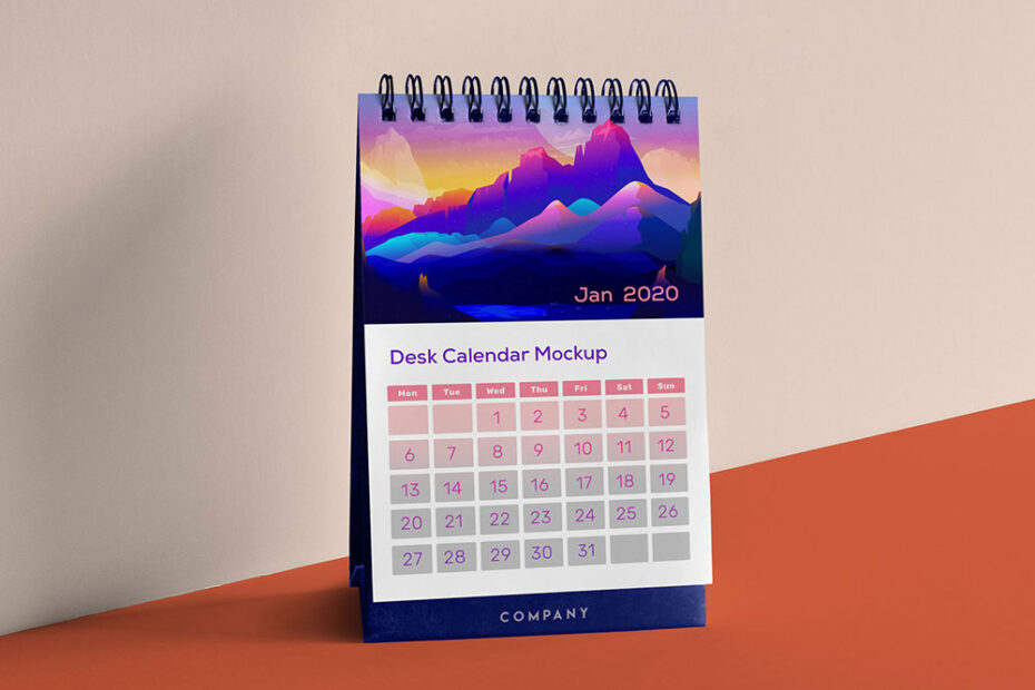 Free Vertical Table Calendar Mockup