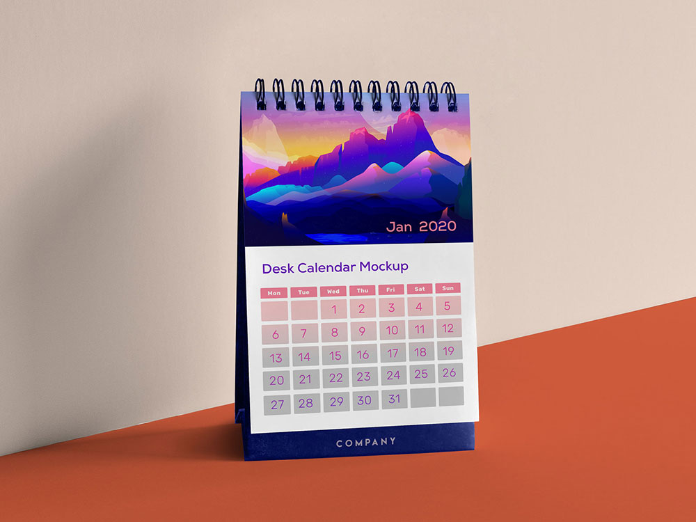 Free Vertical Table Calendar Mockup