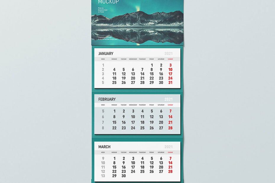 Free Wall Mounted Calendar Mockup