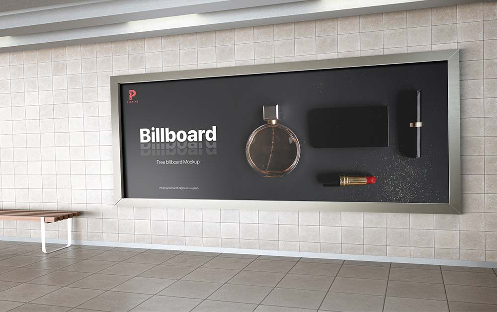 Free Metro-Station Billboard Mockup