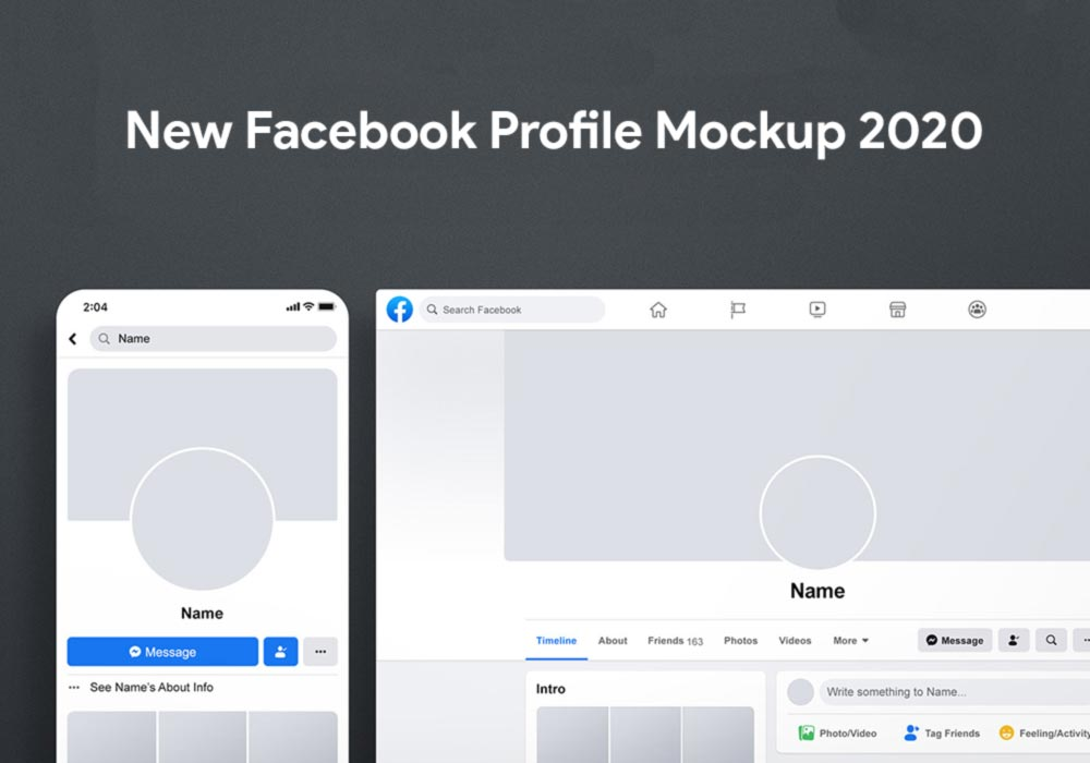 Free New Facebook Profile Mockup 2020