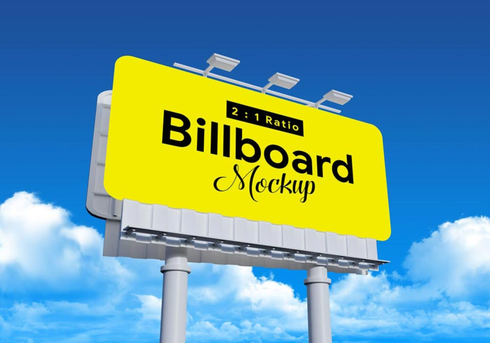 Free Rounded Corners Billboard Mockup