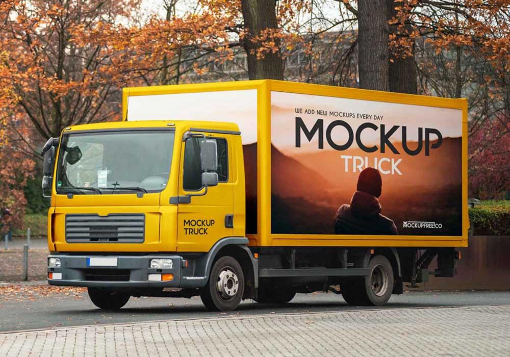 Free Box Truck Mockup
