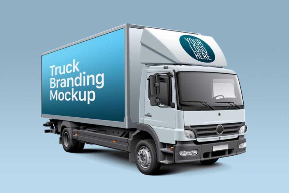 Free Box Truck PSD Mockup