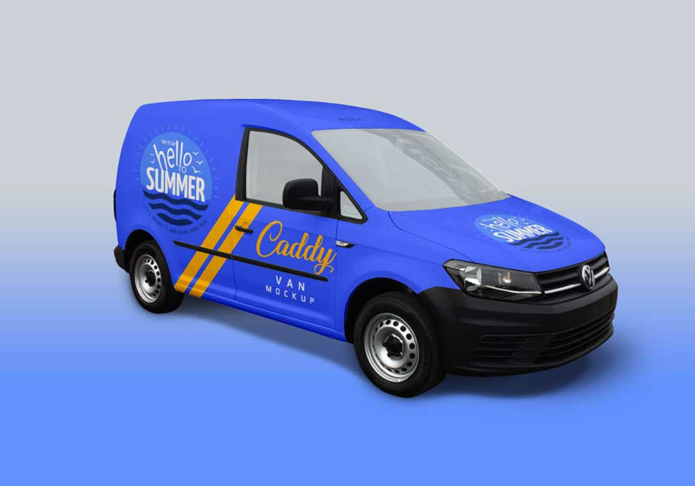 Free Caddy Van Mockup