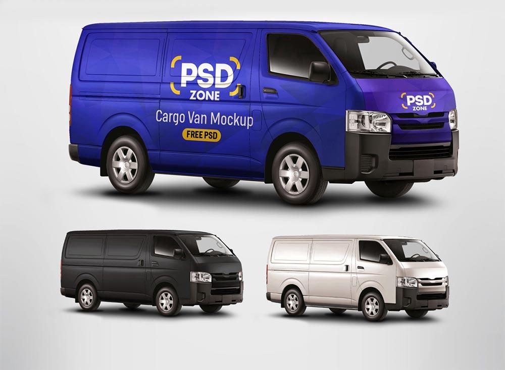 Free Cargo Van Mockup PSD