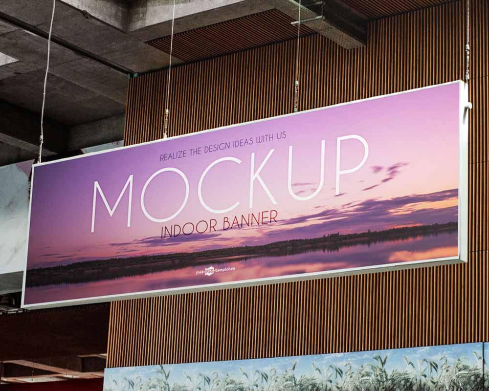 Free Indoor Hanging Banner Mockup