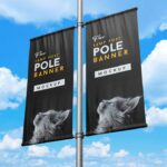 Free Lamp Post Pole Banner Mockup