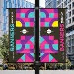 Free Outdoor Lamp Post Banners Mockup