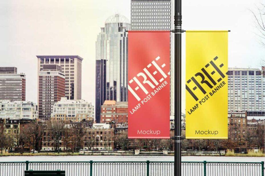 Free Simple Lamp Post Banner Mockup