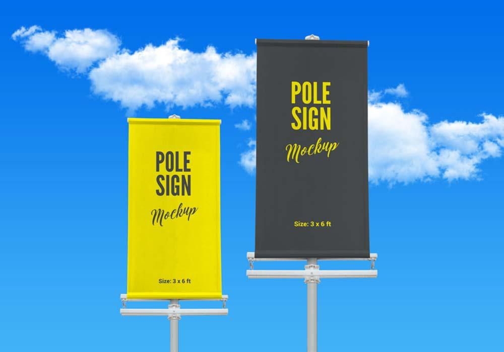 Free Street Pole Banner Mockup