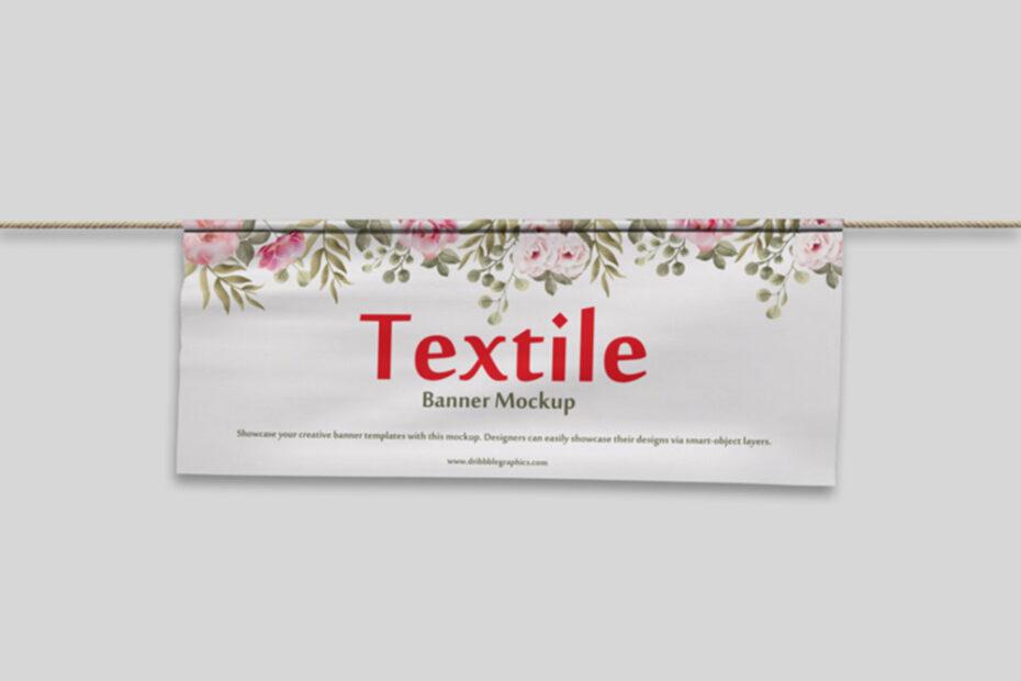 Free Textile Banner PSD Mockup