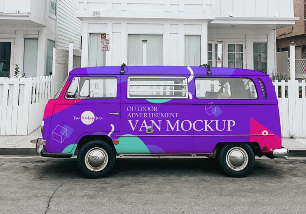 Free Vintage Van Mockup