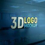 Free Glass Wall 3D Logo Mockup