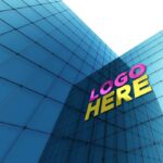 Free Glass Wall Logo Mockup
