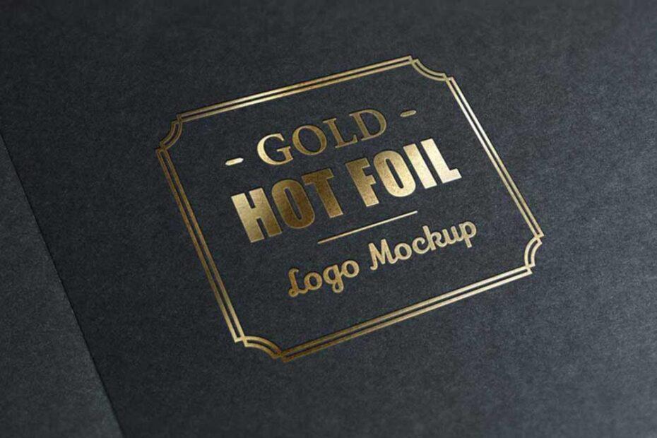 Free Gold Stamping Logo Mockup