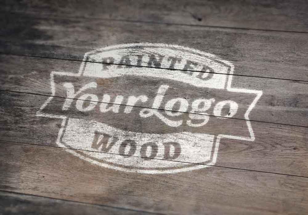 Painted-Wood-Logo-Mockup