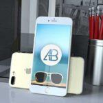 Free Realistic Gold iPhone 7 Plus Mockup