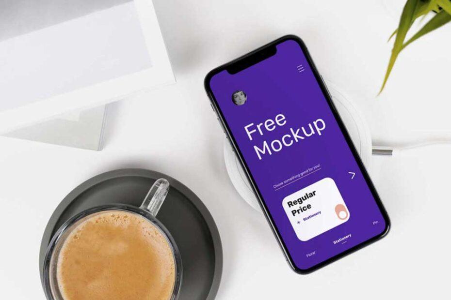 Free iPhone X on Desk Mockup
