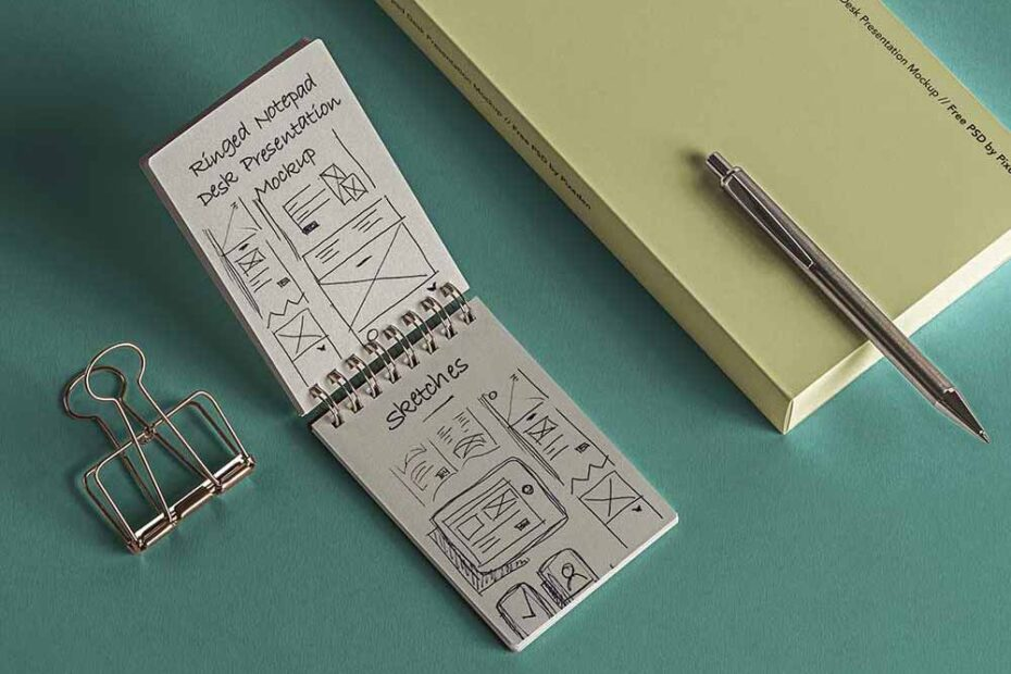 Free Desk Ringed Notepad Mockup