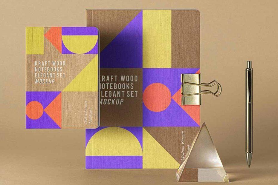 Free Kraft Wood Notebook Mockup