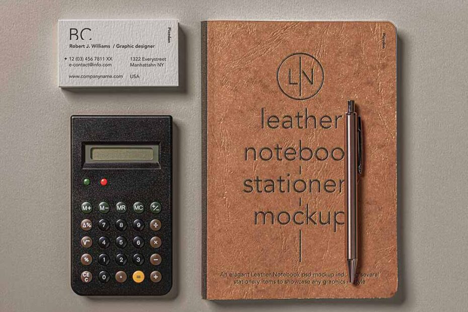 Free Leather Notebook Cover Mockup