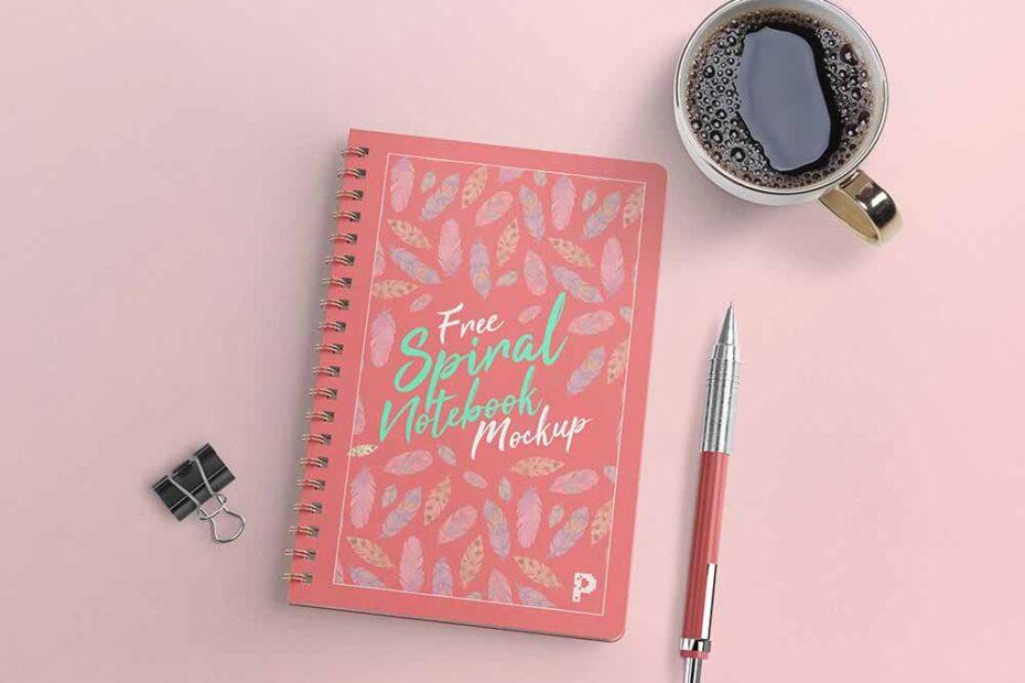 Free Minimal Spiral Notebook Mockup