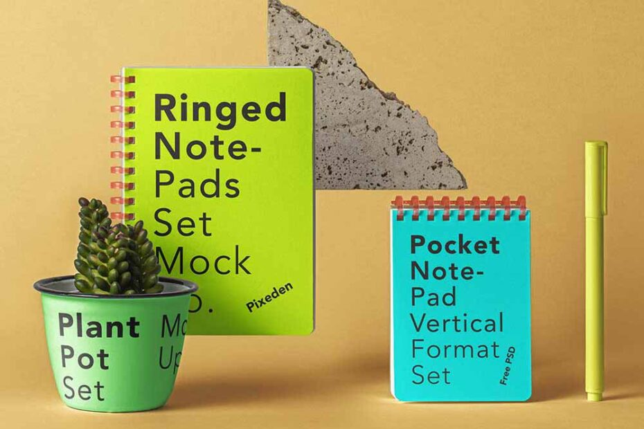 Free Ringed Notepad Set Mockup